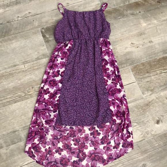 Children's Place Other - Asymmetrical Purple Floral Tank Dress XL 14